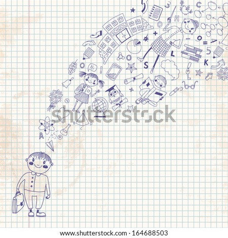 Background with a student and her thoughts about the school. Back to school.  - stock photo