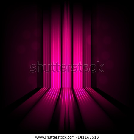background with abstract lines of pink light - stock photo