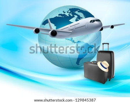 Background with airplane and globe. Travel concept. Raster version of vector - stock photo