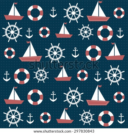 background with anchors and boats. Raster version - stock photo