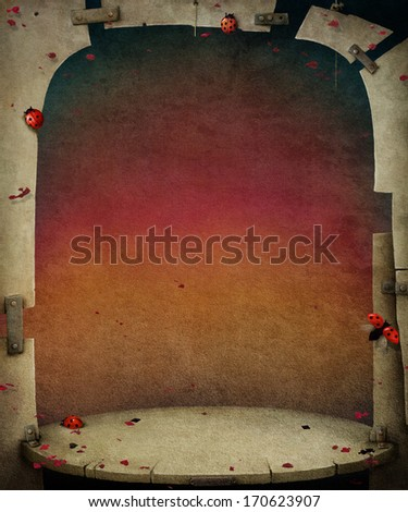 Background with bizarre scene and   wall and with ladybirds  - stock photo