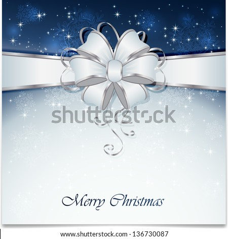 Background with bow, snowflake, stars and blurry light, illustration. - stock photo