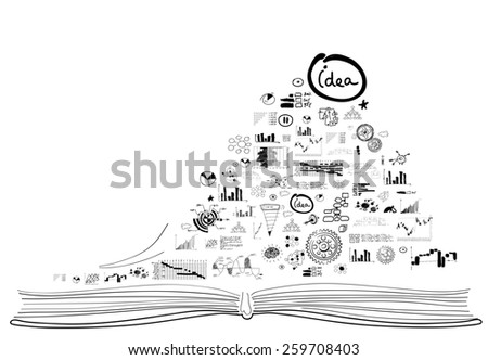 Background with business sketches on white backdrop - stock photo