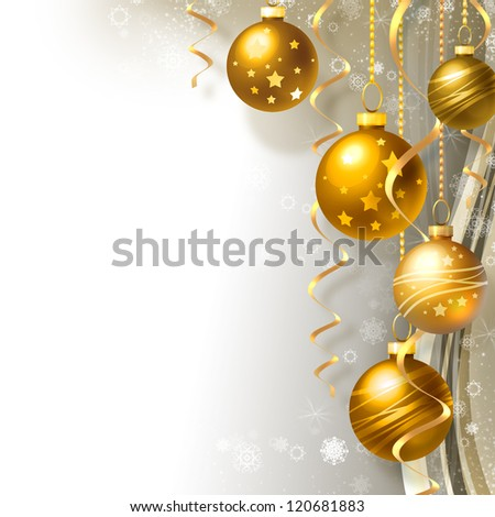 Background with Christmas balls and white snowflakes - stock photo
