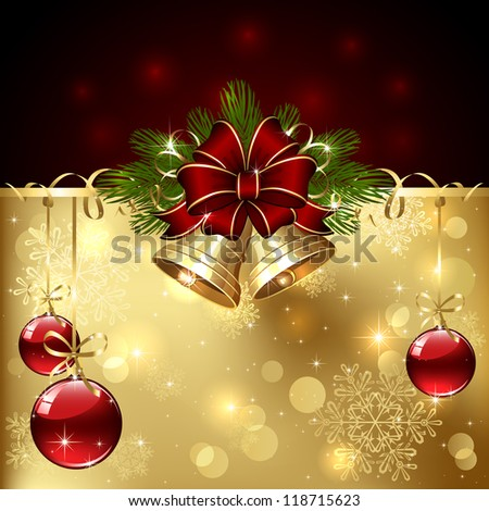 Background with Christmas baubles, bells, bow and tinsel, illustration. - stock photo