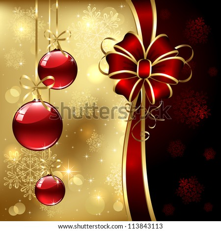 Background with Christmas baubles, bow and snowflakes, illustration. - stock photo