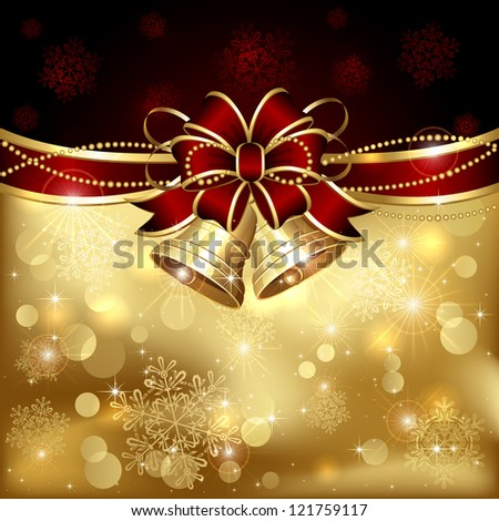 Background with Christmas bells, red bow and tinsel, illustration. - stock photo