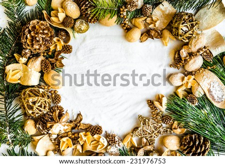 background  with Christmas decorations and snow - stock photo