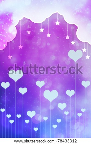 background with clouds, the new heart and the stars - stock photo