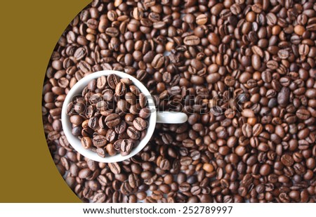 Background with coffee beans, full cup and color curve - stock photo