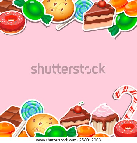 Background with colorful sticker candy,   sweets and cakes. - stock photo