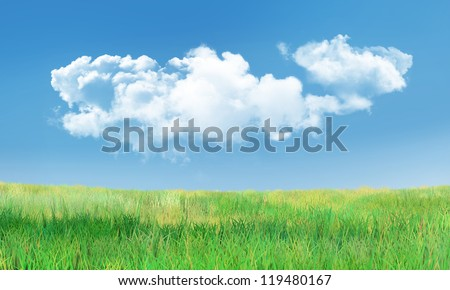 Background with Cumulus Clouds and Green Grass Landscape - stock photo