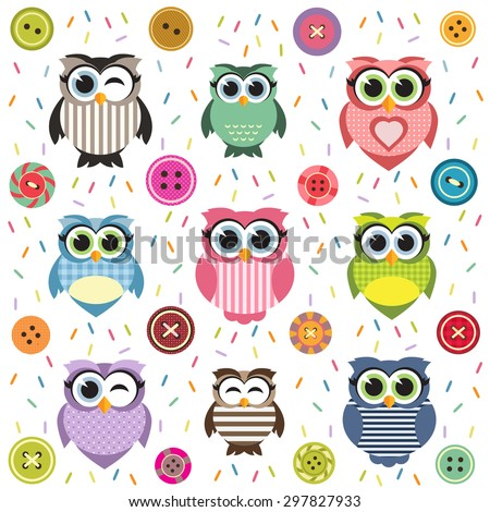 Background with cute textured owls. Raster version - stock photo