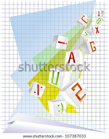 Background with 3D cube letters - stock photo