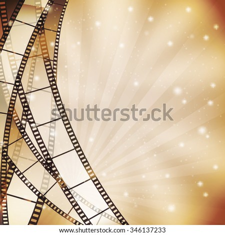 background with filmstrip and stars, stripes, lights. JPG version - stock photo