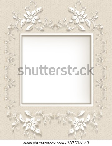 Background with floral decoration and ornamental frame with place for text. - stock photo