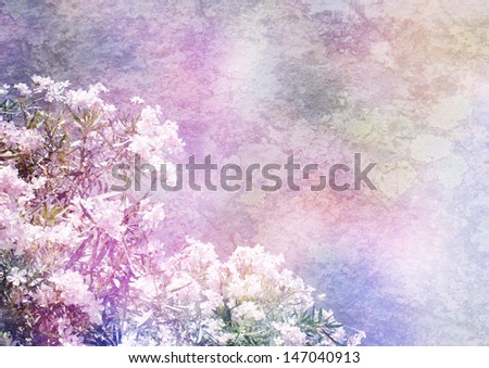 background with floral decoration - patina texture - stock photo