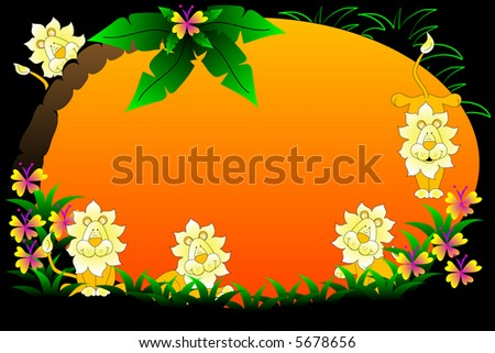 Background with flowers,tree and lions. - stock photo