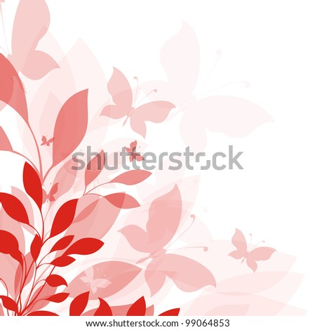 Background with flowers with butterfly - stock photo