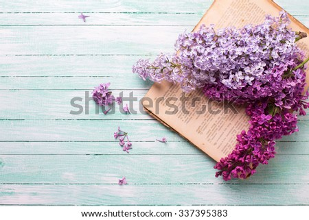 Background  with fresh lilac flowers on open vintage book  on turquoise painted wooden planks. Selective focus. Place for text. - stock photo