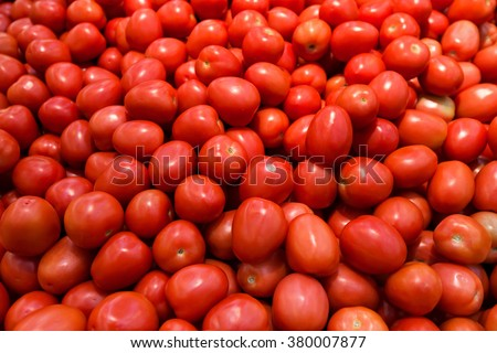 Background with fresh ripe tomato, closeup, selective focus
