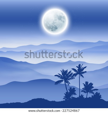 Background with fullmoon, palm tree and mountains in the fog. - stock photo