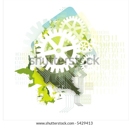 background with gears & binary data codes - stock photo
