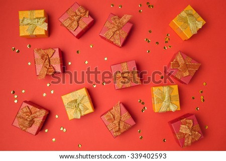 Background with gift boxes. Sale and discount concept. View from above - stock photo