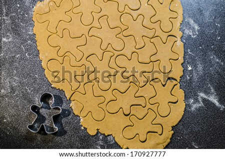 Background with Gingerbread dough for Christmas cookies  - stock photo