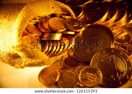 background with gold of coins - stock photo