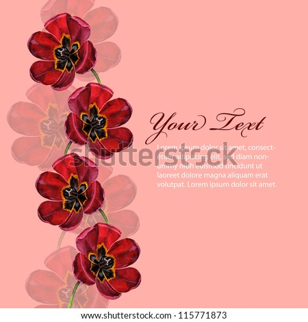 Background with hand drawn flowers and text - stock photo