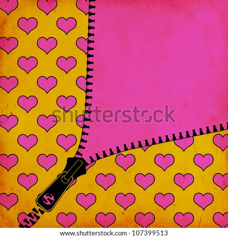 background with hearts and zipper - stock photo
