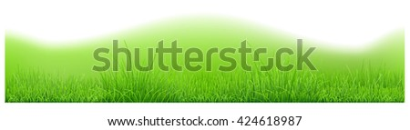 Background with hills and green grass. Vector illustration - stock photo