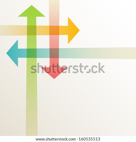 Background with intersecting color transparant arrows. Abstract illustration for web, print template with text box. Simple concept of exchange of information, search for compromise, problem solving  - stock photo