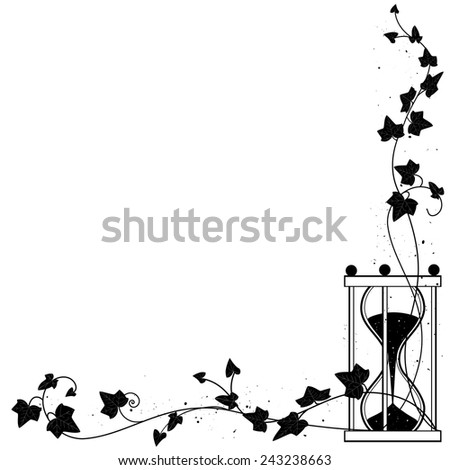 background with ivy and sandglass for corner design - stock photo