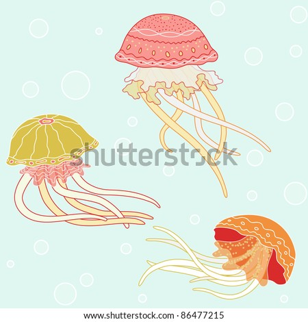 Background with jellyfish, pattern, sea colors - stock photo