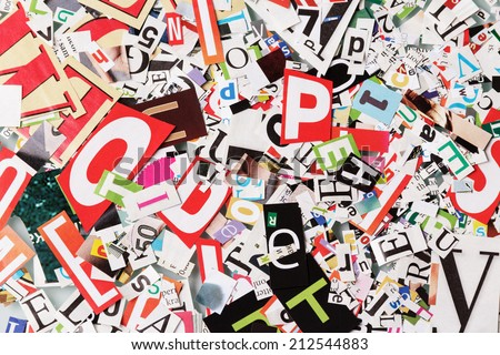 Background with letters from newspapers close-up - stock photo