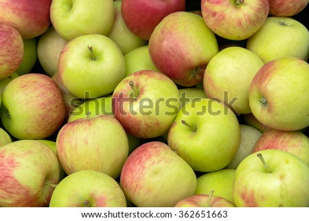 background with lots of red and green apples - stock photo