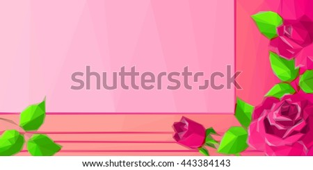 Background with Low Poly Floral Pattern - stock photo