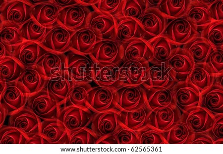 background with many red roses - stock photo