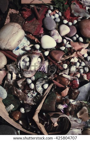 Background with multicolored stones and beads close up - stock photo