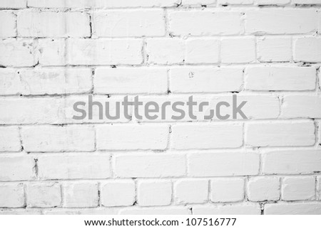 Background with old white painted brick wall - stock photo