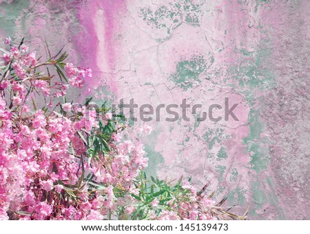 background with pink oleander - patina texture - stock photo
