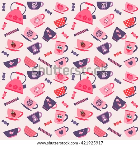 background with purple, pink and red tea cups. Raster version - stock photo