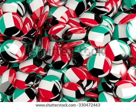 Background with round pins with flag of kuwait - stock photo
