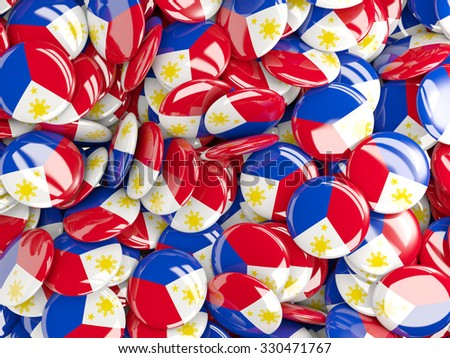 Background with round pins with flag of philippines - stock photo