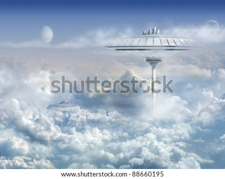 Background with Sci-Fi Cloud City - stock photo