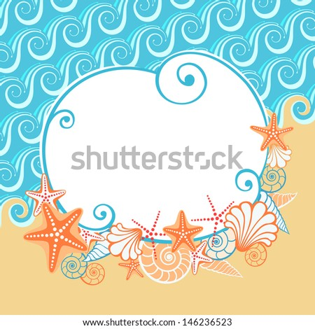 Background with sea, golden sand, seashells, starfish and the banner. Vintage colorful stylized coastline. Simple abstract decorative cute illustration with concept of seaside resort, vacation, diving - stock photo