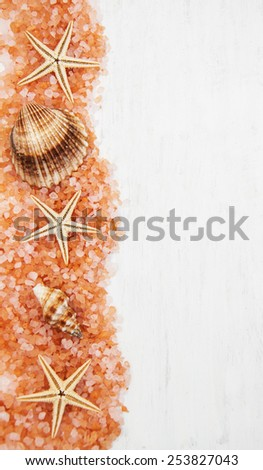 background with seashells, salt and starfishes making a frame - stock photo