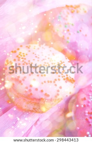 Background with set of small cupcakes overlaid by sparkling texture for your design - stock photo